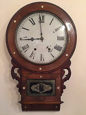 American Jerome walnut and mother of pearl inlaid drop trunk wall clock