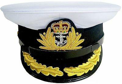 BRAND NEW ROYAL NAVY OFFICER HAT CAP CAPTAIN ( WHITE ) Size 59 01