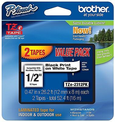 "2 Tz Tape Brother P Touch Laminated Black On Clear 1/2"" Tape 1 Pack Tze131Pk New"