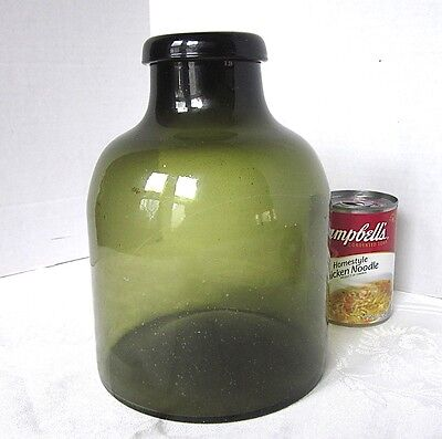 Antique Green Bottle Hand Blown Food Storage Bottle with Pontil 1800s