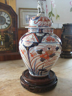 Large Antique Japanese Imari Patterned Hand Painted Porcelain Jar And Stand
