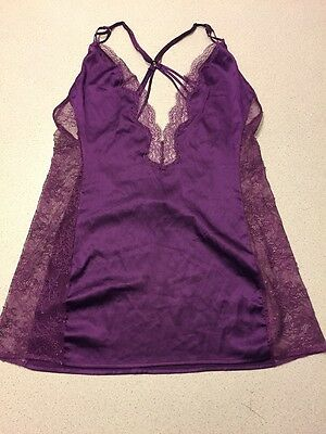 Victoria's Secret Purple Lace Trim Nighty Size Large Slip Lingerie Women's