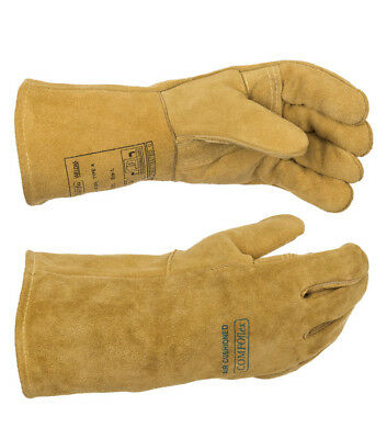 "WELDAS ""BUCKTAN WIDE BODY"", Welding Glove with Premium Quality Cow Split Leather"