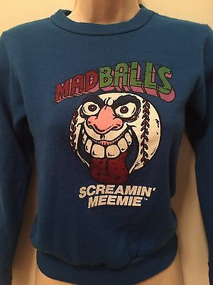 1980s Screemin Meemie Madball Baseball AmToy Royal Blue Crew Sweatshirt