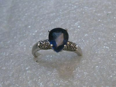 Sterling Silver Sapphire Blue Ring, Pearl Shape, Clear CZ, Sz. 7m, 2.36 grams,