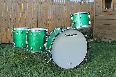 "Vintage 1976 Ludwig 26,14,16,18 Kit. 3 Ply w/rerings. ""Green Sparkle"" BONHAM!"