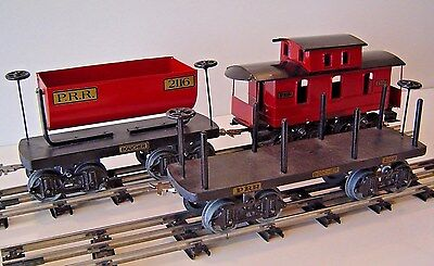 Three (3) Reproduction Boucher Freight Cars, Caboose & Flat & Dump Cars
