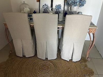 Marble Dining Table Cream And 6 Linen Padded Dining Chairs