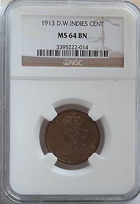 1913(h) Danish West Indies Cent MS 64 BN NGC. Choice look and not so big mintage