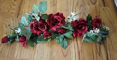 """Home Interior ? """"Red Rose"""" Floral Wall Swag - approx 28"""""""