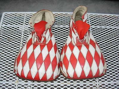 Vintage Leather Red & White Diamonds Clown Shoes