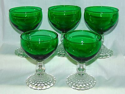 "5 Anchor Hocking BUBBLE FOREST GREEN *4"" COCKTAIL GOBLETS*"