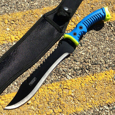 """16"""""""" Defender Xtreme Full Tang Hunting Knife with Blue/Neon Green Rubber Handle"""