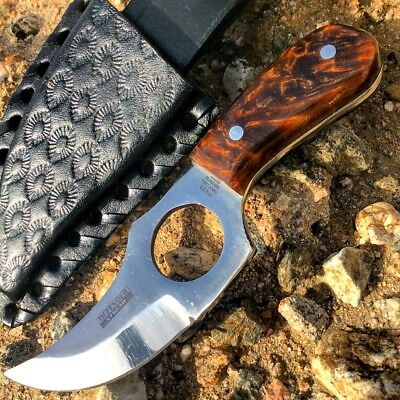 """5.5"""""""" Defender Xtreme Full-Tang Skinner Knife with Brown Marble Handle"""
