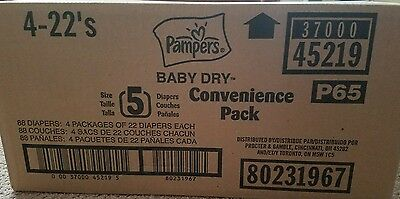 Pampers baby dry convenience pack, size 5, 4 packs of 22 diapers each