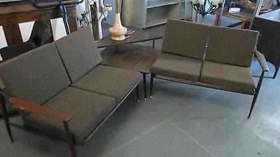 Mid Century Danish Modern Viko Baumritter Table and Sofa Chair Set
