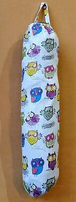 Owls design Plastic grocery shopping bag storage stock holder dispenser handmade