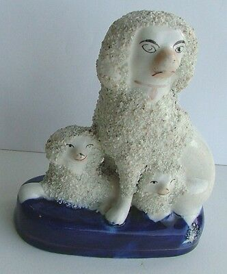 Antique Staffordshire? Figurine~Trio Poodles~Blue Base With Gilding~Original ??
