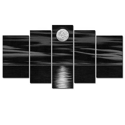 CANVAS Prints Painting Pictures Home Decor Wall Art Abstract Black Moon Sea