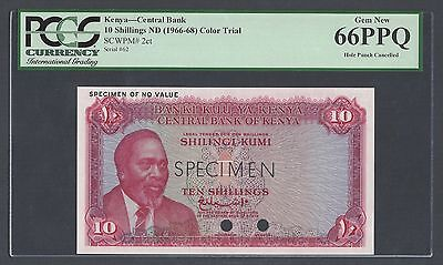 Kenya 10 Shillings ND(1966-68) P2ct Specimen Color Trial Uncirculated