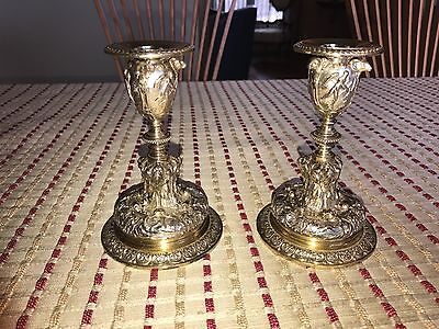Exquisite Pair of Elkington Silver Plate and Silver Gilt Candlesticks Circa 1861