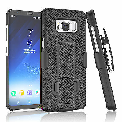 SAMSUNG GALAXY S8 /Plus SHELL HOLSTER BELT CLIP COMBO CASE COVER WITH KICKSTAND