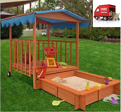 Covered Sandbox Playhouse Retractable Outdoor Area Kids Playground Fort Wood
