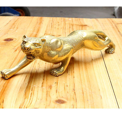 Huge 10 inches Art Deco pure brass copper statue lucky panther leopard