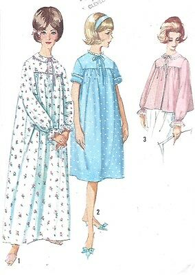 Vintage Women's Nightgown and Bed Jacket Sewing Pattern Rare Large XL Size