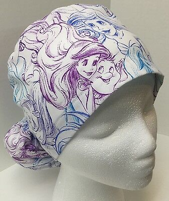 Little Mermaid Ariel  Print Medical Ponytail Pouch Scrub Cap Surgery OR Hat