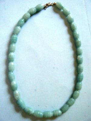 Vintage Chinese Jade Necklace Carved Green White Barrel Shape Bead