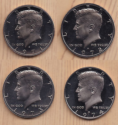 Run of 4  Kennedy Proof Half Dollars 1971-S to 1974-S CN Clad Frosty Cameo