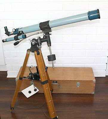 Sears Discoverer 6333 EQ Refractor Telescope F=900 D=60mm in Wooden Case