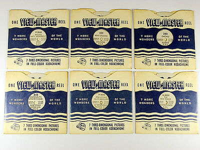 6 x RARE VINTAGE VIEWMASTER REELS 1950'S / 3D PICTURES / NEW ORLEANS CHICAGO USA