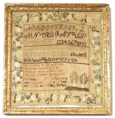 """Small Antique NEW ENGLAND SAMPLER """"Instructed by MARY WARD"""", Found in VERMONT"""