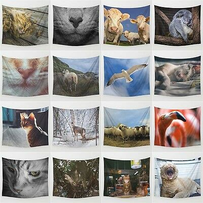 Cute Animals Polyester Tapestry Wall Hanging Hippie Bedspread Home Decor