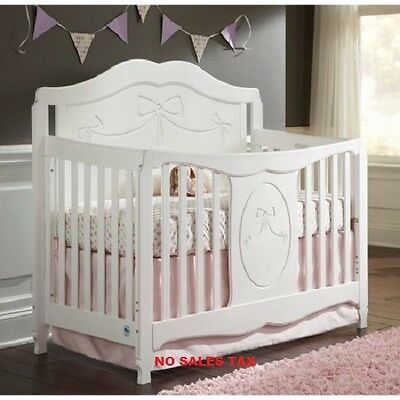 4 in 1 Convertible Crib Fixed Side Adjustable Mattress Daybed Toddler Full