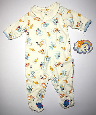 New CARE BEARS Baby BOY 0/3 Months Long Sleeves Covered Feet One-Pc Romper Rare