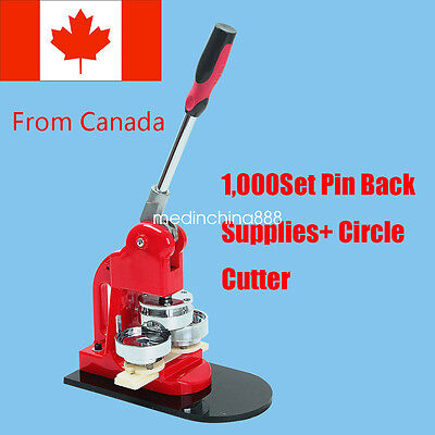 From CA Fast!  Badge  Button Maker Machine +Circle Cutter + 1000 Set Pin Back