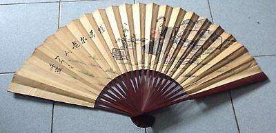 """Rare Old Art Vintage Hand Fan Painting Paper 20"""" Free Shipping"""