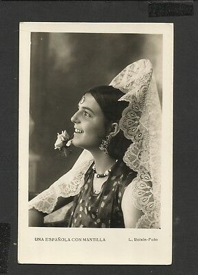 Vintage Real Photo Postcard Spanish Lady Poses in Lace Mantilla  Unposted