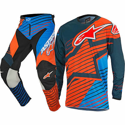 M-30 Set Jersey + Trousers Alpinestars Racer Braap PETROL / AQUA / ORANGE