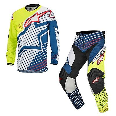 M-30 Set Jersey + Trousers Alpinestars Racer Braap Fluorescent Yellow White Blue