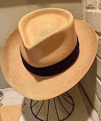 Vintage 1940s Genuine Panama Fedora Straw hat From Ecuador Excellent Cond Size 7