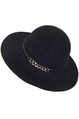ce61ccc8dfe ScarvesMe C.C Exclusive Wool felt Chain Accent with Leather Band Hat