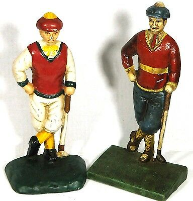 Vintage Cast Iron Golfer Book Ends Doorstops Antique Collectible Golf Statues