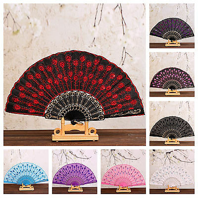 Lace Fabric Folding Hand Held Dance Fan Party Wedding Prom Embroidery Ribbing
