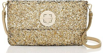 Kate Spade Sparkler Missy Glitter Evening Gold Clutch Party Bag  Nwt