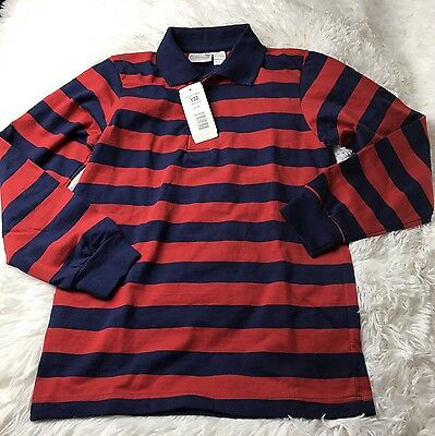 Elderwear Boys Youth 10/12 Red/Navy Striped Long Sleeve 1/4 Button Up Polo Shirt