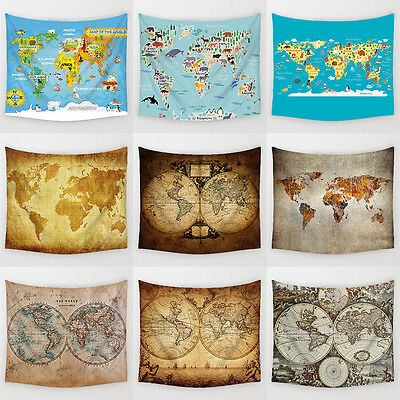 World Map Hanging Tapestry Tablecloth Beach Towel Wall Sticker Home Decor